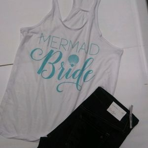 "Icing White ""MERMAID Bride"" Tank Turquoise Font"